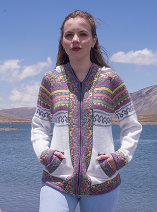 White Hoodie with Andean design
