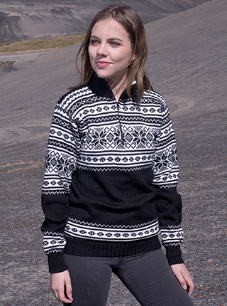 Black Turtleneck Sweater with Nordic Design