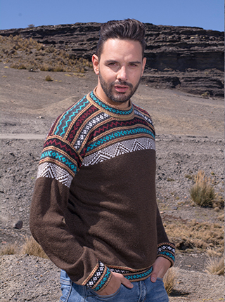 Brown Alpaca Sweater with andean design