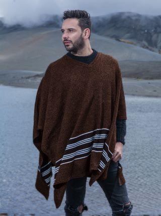 Brown V neck Poncho with Horizontal Lines