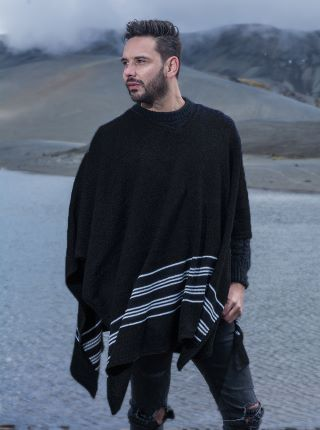 Black V neck Poncho with Horizontal Lines