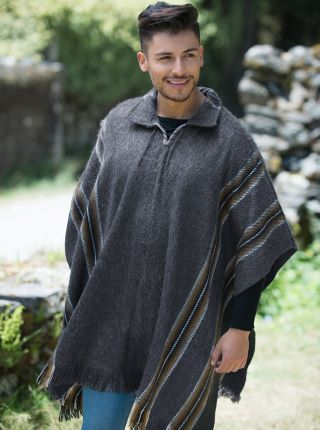 Grey Alpaca Poncho - Shirt V neck