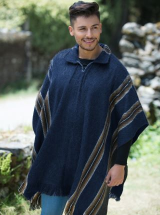 Blue Alpaca Poncho - Shirt V neck