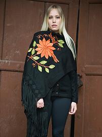 Black shawl with beautiful design of a flower