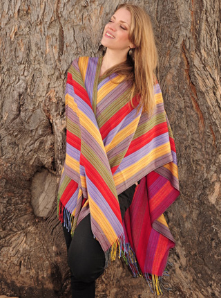 Multicolored Striped Ruana