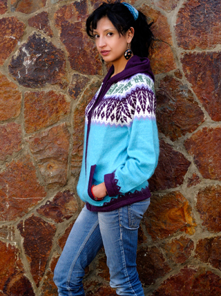 Turquoise Cardigan with Zipper & Hood