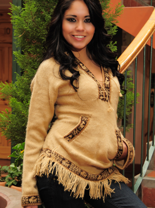 Light Brown Hooded Sweater with Fringes