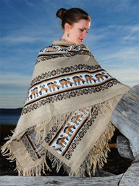 Ruana with Andean Designs - Light Brown