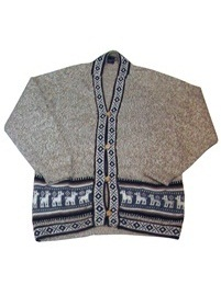 Light Brown Melange Cardigan with Andean Designs