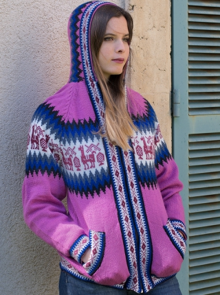 Sweater with Zipper and Hood - Pink