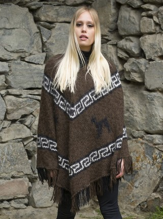 Dark brown poncho with andean designs