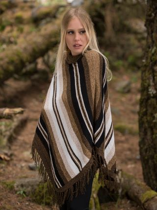Brown poncho with pattern to lines in brown tones