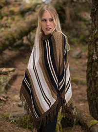 Diagonal Striped Poncho