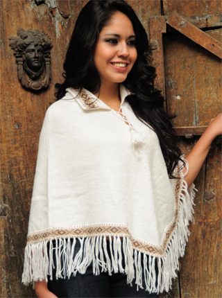 White Poncho with Geometrical Designs