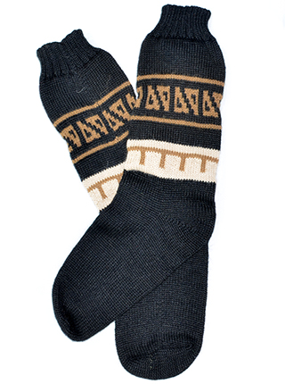 Alpaca Socks - Black with Brown Designs