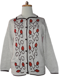 Beige Cardigan with Vertical Designs