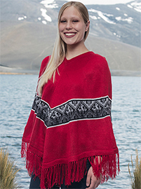 Red Poncho - Llamas Designs