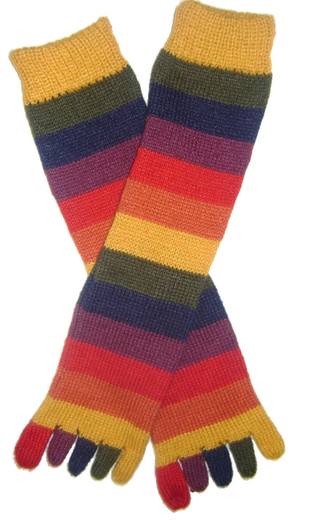 Multicolored Striped Socks with Toes