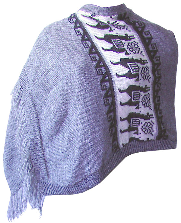 Shawl with Llama Figures