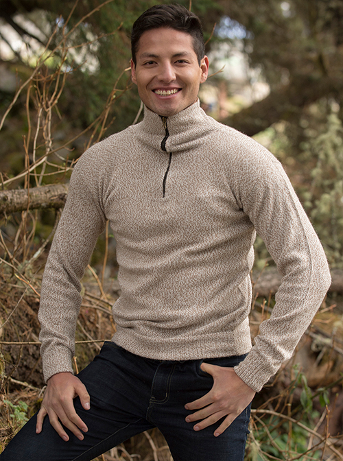 Zippered Turtleneck Sweater