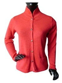 Red Cardigan - Cadet Style Neck