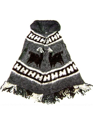 Gray Poncho - For Kids