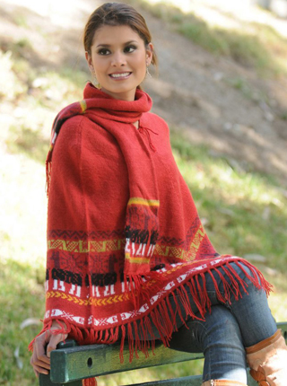 Red Poncho with Scarf