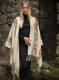 White ruana with Andean designs