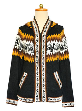 Brown sweater with andean designs in the chest