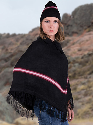 Purple Stripes Poncho with Cap