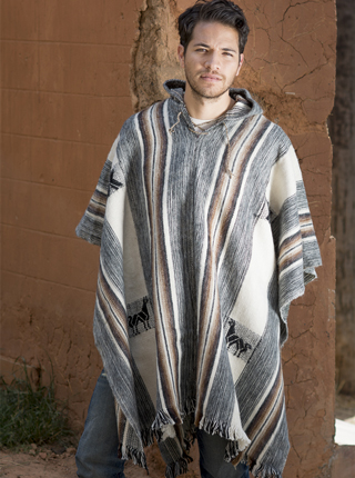 Rustic Poncho with Hood