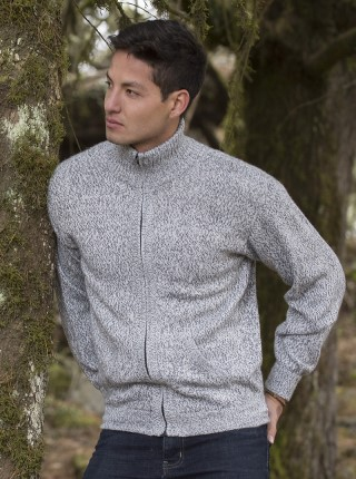 Gray Melange Cardigan with Zipper