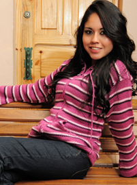 Hooded Cardigan - Pink Stripes