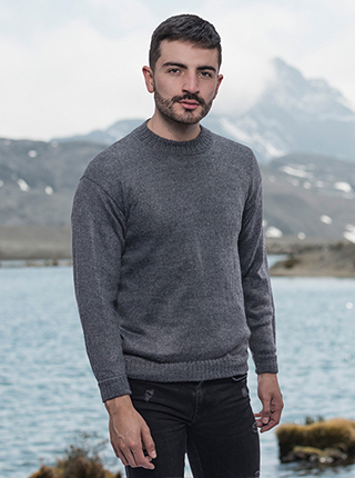 Gray Basic Alpaca Sweater