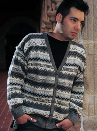 V Neck Cardigan - Geometrical Stripes