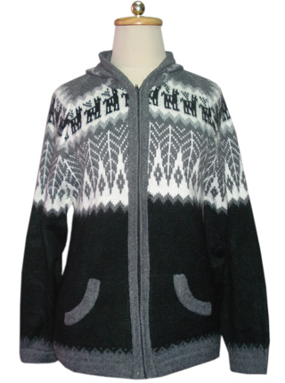 Gray hooded sweater with patterns on the chest