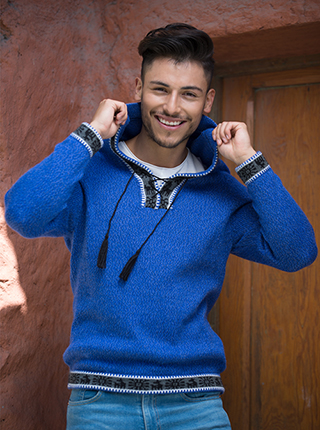 Melange Sweater with Hood - Blue