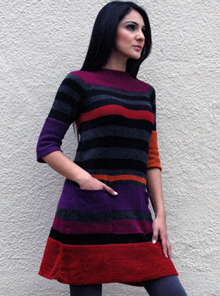 Color Striped Dress - 3/4 Sleeve