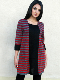 Color Striped Dress with Hidden Pocket - 3/4 Sleeve