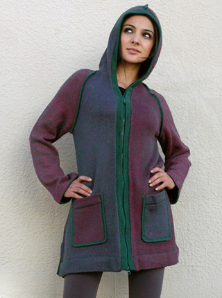 Coat with Hood and Zipper