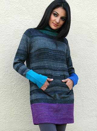 Striped Sweater with Kangaroo Pocket