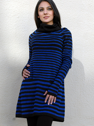 Blue & Black Striped Dress with Sleeves and Gloves