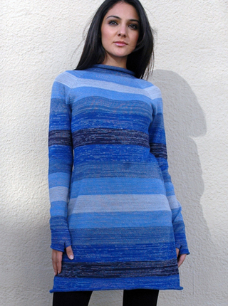 Striped Melange Dress with Sleeves and Gloves