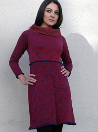 Pattern Dress with Boat Neck