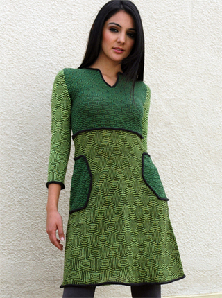 Pattern Big Side Pockets Dress