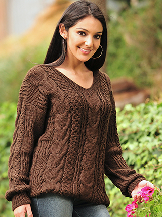 Hand Woven Ladies Brown Alpaca Sweater