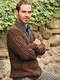 Hand Woven Brown Alpaca Sweater for Men