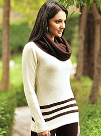 Elegant White and Brown Sweater