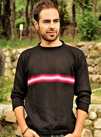 Black Alpaca Sweater with Stripes for Men