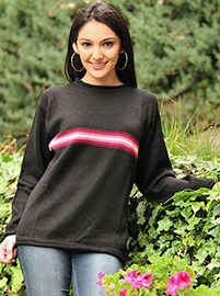 Black Alpaca Sweater with Stripes for Women